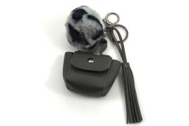 Sleutel-/tassenhanger tasje met Grijs pompon