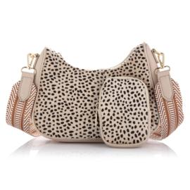 Schoudertasje Cheetah Beige ovaal met coin purse