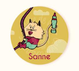 Ronde sticker Sanne