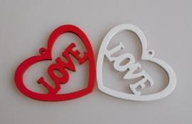 10 Stuks Hart LOVE Wit en Rood
