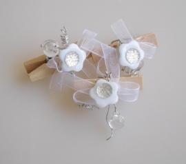 DIY - 10 Stuks Houten knijpers met bloem Wit