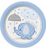 Babyshower Bord met olifantje Blauw
