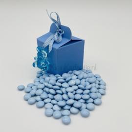 Geboortebedankje - Kubusdoosje blauw