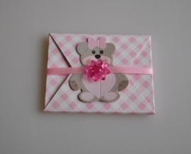 Geboortebedankje Teddy Beer Envelopje Rose