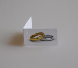 Bedankkaartjes: 25 stuks Kaartjes zilveren en gouden ring