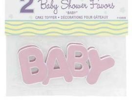 Babyshower Caketopper BABY Roze