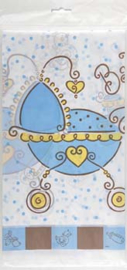 Babyshower Banner met kinderwagen Blauw