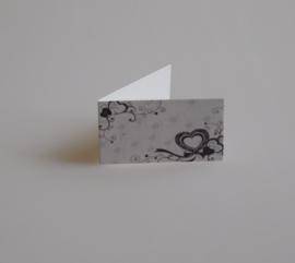 Bedankkaartjes: 25 stuks Kaartjes zwart/grijze hartjes