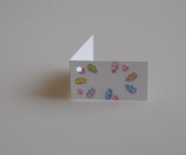Bedankkaartjes: 25 stuks Kaartjes speentjes div kleuren