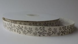 DIY - Lint creme/grijs met bloemen 15mm.