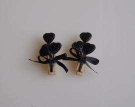 DIY - 10 Stuks Houten knijpers met hartjes Zwart