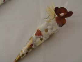 Huwelijksbedankje Cornet Bruin/Goud met Orchidee