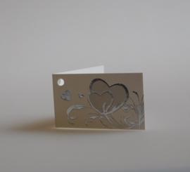 Bedankkaartjes: 25 stuks Kaartjes zilveren harten