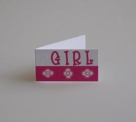 Bedankkaartjes: 25 stuks Kaartjes GIRL met bloem
