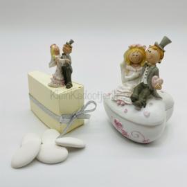 Huwelijksbedankje - Set van 15 taartpuntdoosjes inclusief bonbonnière