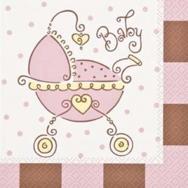Babyshower Servetten kinderwagen Roze