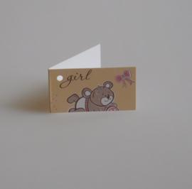 Bedankkaartjes: 25 stuks Kaartjes beer GIRL