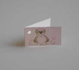 Bedankkaartjes: 25 stuks Kaartjes Teddybeer Roze en Blauw