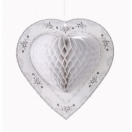 Decoratie Harten Hearts White