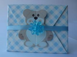 Geboortebedankje Teddy Beer Envelopje Blauw