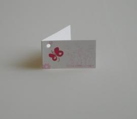 Bedankkaartjes: 25 stuks Fuchsia kaartjes met vlinder
