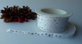 5 Meter Kerstlint Wit met Zilveren sterren