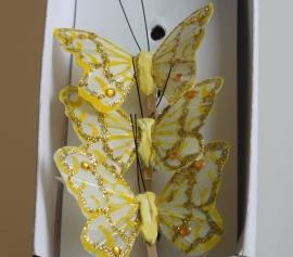 DIY - 10 Stuks Vlinders Suzy op houten knijper Ecru