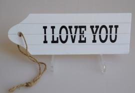 Decoratie Houten Tag I LOVE YOU