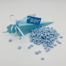 Geboortebedankje - Puntdoosje blauw