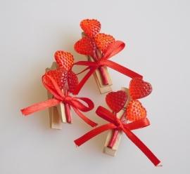 DIY - 10 Stuks Houten knijpers met hartjes Rood