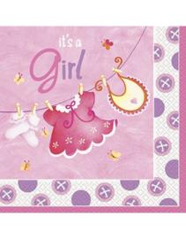 Babyshower Servetten Waslijn It's a Girl