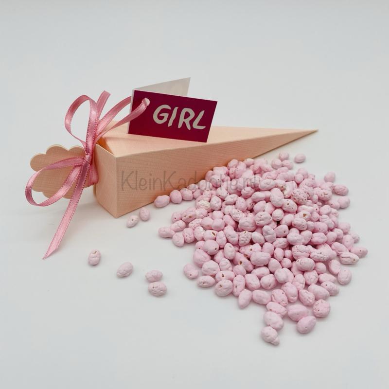 Geboortebedankje - Puntdoosje roze