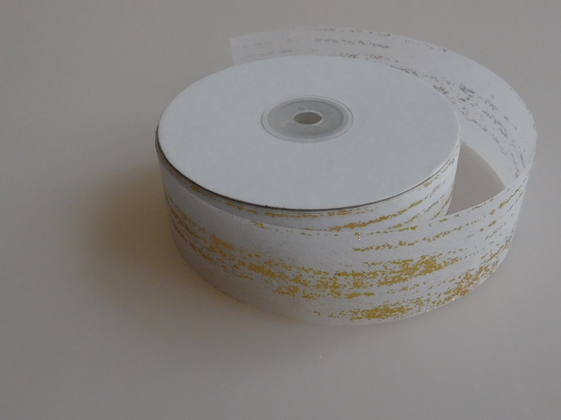 5 Meter Wit Papierlint Goud