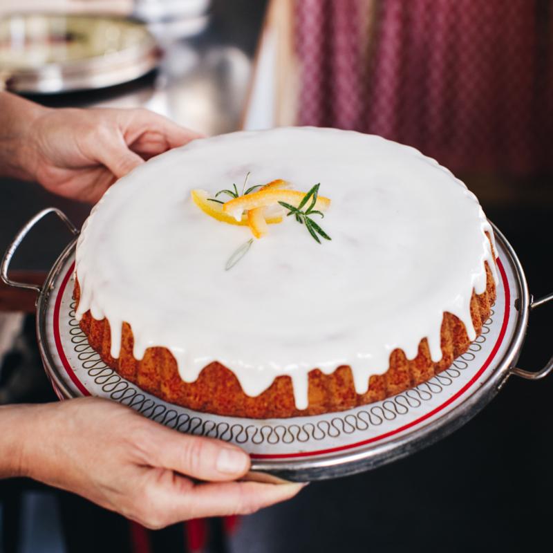 Receptkaart voor Rozemarijn-sinaasappelcake met olijfolie