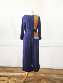 COLOUR BLOCK JUMPSUIT - blue