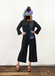COLOUR BLOCK JUMPSUIT - black