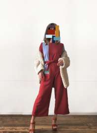 COLOUR BLOCK JUMPSUIT - red
