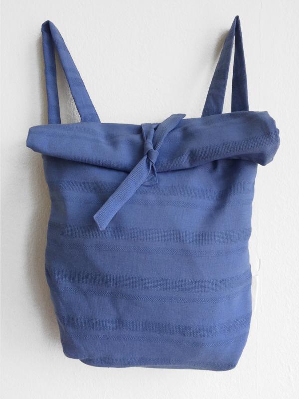 GRIJS/BLAUWE RUGTAS- FOLDER BAG