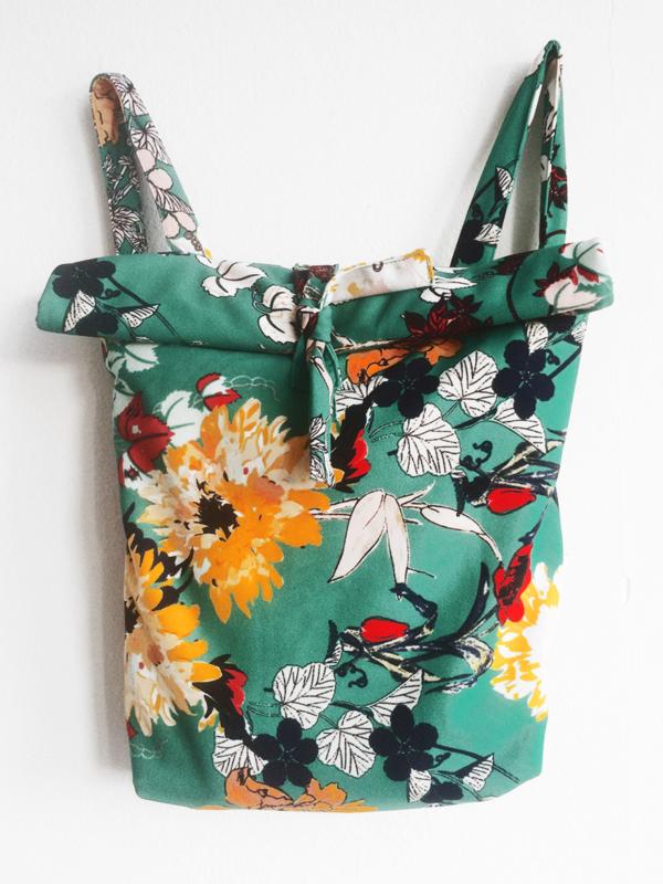 FLOWER GROEN RUGTAS- FOLDER BAG