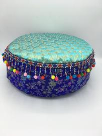 Meditatiekussen glitter blauw/VERKOCHT