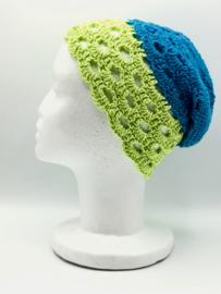 Beanie gehaakt groen-blauw