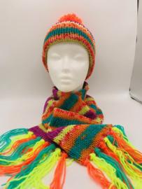 wollen multicolour kindersjaal