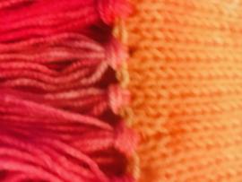 Oranje/roze haarband met sjaal