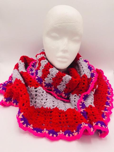 Rode lila sjaal met paarse/rose glitterrand
