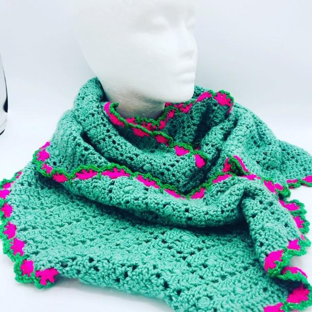 Zeegroene sjaal met rose/groene glitterrand