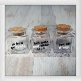 Setje van 3 glazen potjes