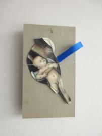 Keep vogel van papier - handgemaakt - 14cm