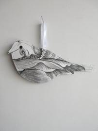 Keep vogel - papier - 20cm - z/w