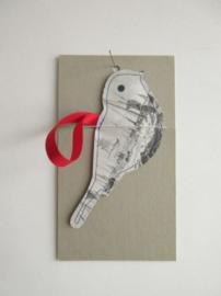 Keep vogel - handgemaakt - 14cm z/w