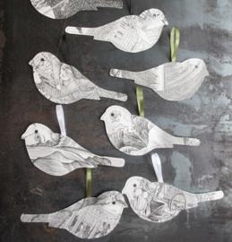 Keep vogel van papier - 20cm - z/w